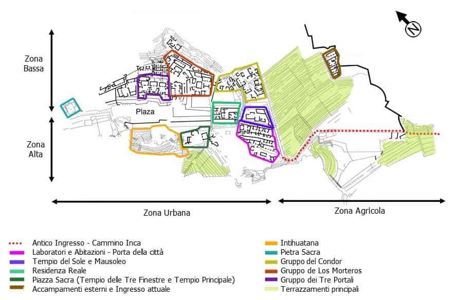 Cartina mappa Rovine di Machu Picchu